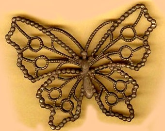 giant vintage raw brass BUTTERFLY or MOTH open stamping ONE large fancy finding easy to attach amazing patina