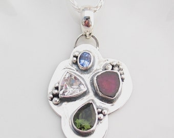 Watermelon Tourmaline, Moldavite, Herkimer Diamond, Tanzanite, Art Jewelry, Multi-stone Pendant, Heady Pendant, Sterling Silver