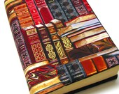 Bookcover, TRADE SIZE paperback book cover,  book protector, cotton, padded cover, ribbon bookmark, gilt edged books print