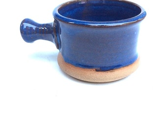 apothecary shaving mug - blue - shaving bowl-  pottery- ceramic - handmade - in stock- A1