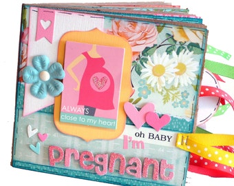 I'm Pregnant - Pregnancy Scrapbook - Paper Bag Album - Baby Memory Book - Ready to Ship
