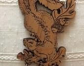Squirrel and Acorns Engraved pendant