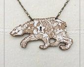 Ursa Minor engraved painted maple pendant