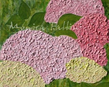 Hydrangeas flowers floral impasto oil painting on canvas by contemporary artist Monica Fallini