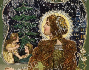 Art Nouveau Madonna Bon Noel Silver Embossed Antique French Postcard Digital Scan