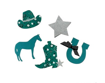 Western Theme// Baby Shower Applique Set//Baby Girl//Fabric Iron On Appliques//FREE Star//Ribbon Is Included//2 Sets Sizes Available