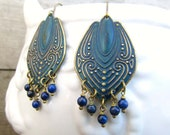 navy Blue earrings Patina Lapis dangle earrings Gift for her Blue jewelry