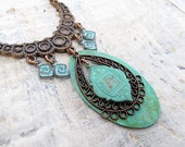Bohemian necklace Ethnic statement necklace Patina Boho Jewelry