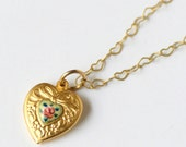 Perfect Valentine Gift for her, 18k Gold Heart Necklace with Vintage Guilloche Enamel Heart, Delicate Heart Necklace, Gold Necklace, SRAJD