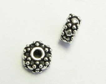 CIJ SALE Fancy 7mm Bali Sterling Silver Dotted Wheel Spacer Beads (2 beads)