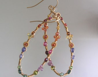 Multi Gemstone Oval Hoops, Gold Filled Earrings, Wire Wrapped, Tanzanite Jewelry, Sapphire Dangles, Artist Made, Original Design, Signature