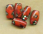 Large Red Millifiore Trade Beads, Vintage (5)