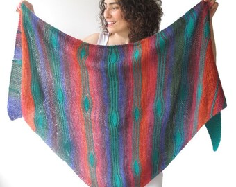 CLEARANCE 50% SALE NEW! Assymetric Colorful Striped Shawl - Triangle Shawl by Afra