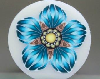 Turquoise Blue Polymer Clay Flower Cane on Translucent Background-'Ripple' series (34E)