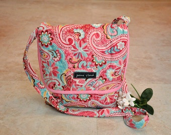 Small quilted satchel purse, beautiful pink and blue paisley mini messenger bag, cute hip bag, unique cross body bag, foldover tote bag