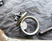 Stainless Steel Riveted Lampwork Ring in Black and White with Old African Coin