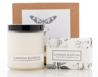 Candle & Soap Gift Set - Gardenia Blossoms