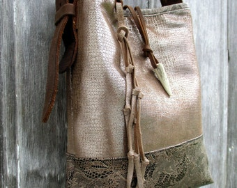 RESERVED for Erin Rustic Bling Leather Bucket Bag by Stacy Leigh