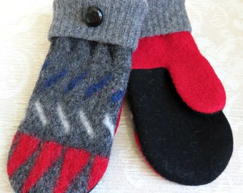 Repurposed Sweater Wool Mittens in Gray, Red and Black Geometric Pattern, Adult Size