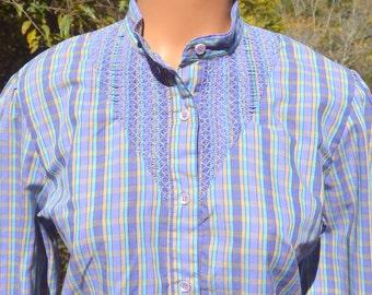 vintage 70s blouse LEVI'S plaid western shirt yoke button down tab band collar women's 16 Large Medium