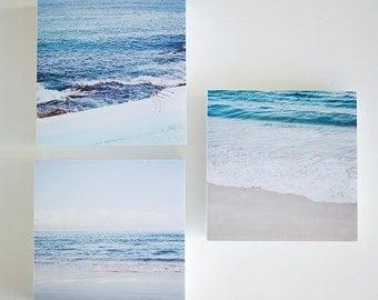 SALE Last set Bondi Icebergs - set of 3 photo blocks - beach room decor, beach photography, Bondi Beach, turquoise, blue, ocean photography
