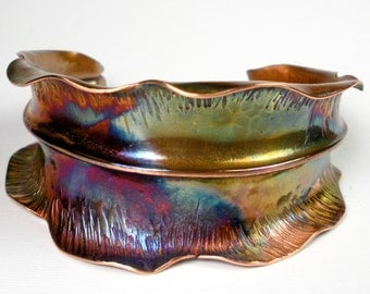 Copper Leaf Cuff, Rustic, Abstract Leaf Cuff, Forged Copper, Fold Formed, Hammered, Autumn Leaf, Colorful Heat Patina- Leaf In Transition