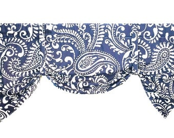 Window Valance/Tie Up Valance,Sash Valance, Butterfly Valance, Rod Pocket Valance, Paisley Fabric Valance/Navy/Black/Gray/Blue/Orange/Yellow
