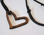 "LOVE Necklace, 42"" LONG, Heart Leather Valentines Necklace Gift for her, Unique Heart Valentines Day gift, Wood Heart Pendant Necklace, LOVE"