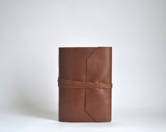 Brown Leather Journal, Hand Bound Leather Wrap Around Journal, Medium Brown Blank Notebook