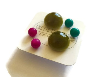 Stud Earrings Set | Olive Green Moonglow Buttons with Pink & Turquoise Studs | Vintage Lucite Earrings