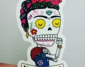Frida the Riveter Calavera Clear Vinyl Sticker Day of the Dead