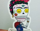 No Te Rajes Riveter Calavera Clear Vinyl Sticker Day of the Dead
