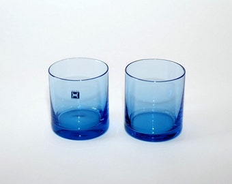 Hadeland Norway Blue Glass Tumblers Glasses, Pair