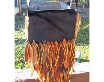 Sandstone and Camel Fringe - 100% Recycled Leather Scraps - Cross Body Pouch