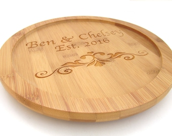 Personalized Lazy Susan - Wedding Gift Kitchen Gift - Bamboo Wood Turntable