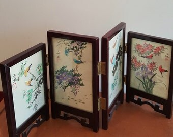 Tabletop Doublesided Handpainted Silk Asian Panel Screen