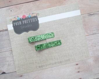 Glitter Green  Clip Emerald No Shed Glitter Clippie Set of Two