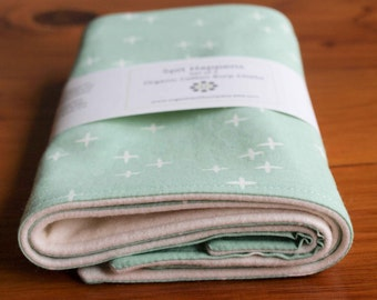 Green Baby Burp Cloths Set; Gender Neutral Baby Shower Gift; Modern Green, White Stars Baby Accessories; Organic Burping Cloths; Mint Wink