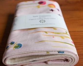 Organic Burp Cloths, Set of Two in Poem; Pale Pink and Gold with Flowers Baby Burp Cloths Gift Set by Organic Quilt Company