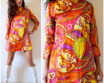Vintage 60s 70s Psychedelic Satin Mini Dress (size small, medium)