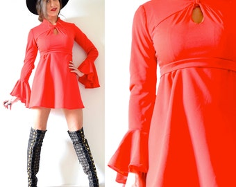 Vintage 70s Heartbreaker Bright Red Flounce Sleeve Mini Dress (size small, medium)