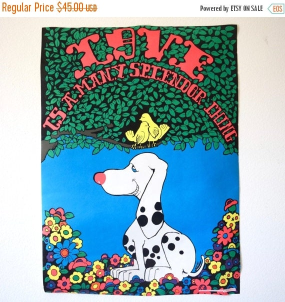 SUMMER SALE / 20% off Vintage 1970 Love is a Many Splendor Thing Dalmation Dog and Lovebirds in a Tree Psychedelic Day-Glo Fuzzy Black Light