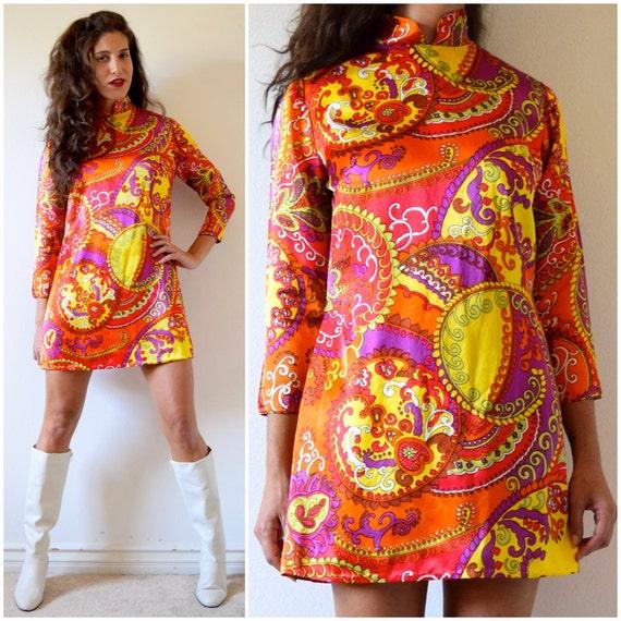 Vintage 60s 70s Psychedelic Satin Mini Dress (size small, medium)