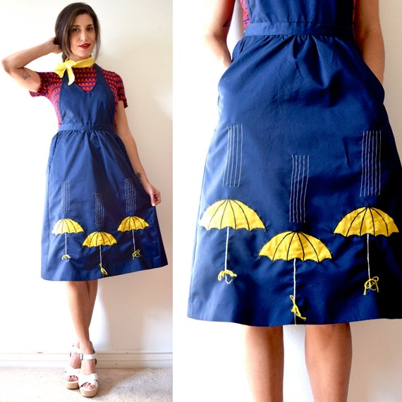 Vintage 70s 80s April Showers Navy Blue Halter Back Umbrella Applique Jumper (size xs, small)