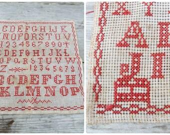 """Vintage Antique 1900 French Sampler abecedaire cross stich  alphabet 10.2"""" x 9.8"""""""