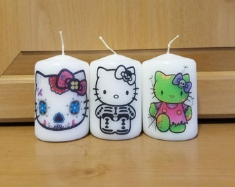 Kitty Inspired Halloween 2x3 Pillar Candle Set of 3