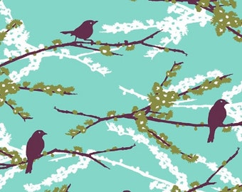 Joel Dewberry Fabric, Aviary 2, Sparrows, Bird, Plum, cotton quilting fabric - 1 FAT QUARTER
