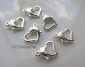 9x12mm Silver Plated Heart Clasp - 6 Clasp