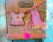 Mixed Media Art, Collage, 5 x 5  x 2 Wood Block - Be Inspired