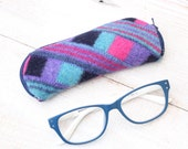 Felted Wool Glasses Case Colorful Patchwork Glasses Case in Blues Turquoise and Pinks